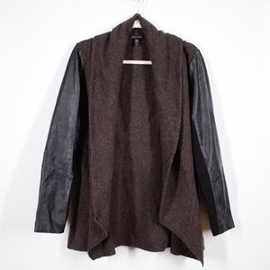 Eileen Fisher Wool Leather Cardigan Sweater Small